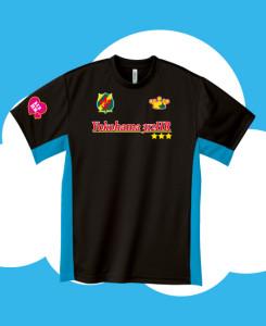 ブラック×ターコイズにサッカーゲームシャツ風のプリント