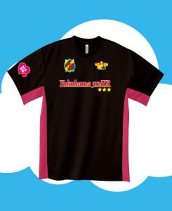 ブラック×ホットピンクににサッカーゲームシャツ風のプリント