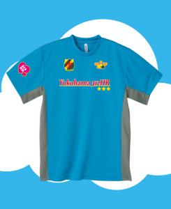 ターコイズ×グレーにサッカーゲームシャツ風のプリント