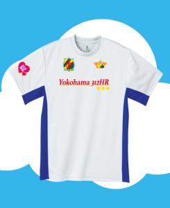 ホワイト×ロイヤルブルーにサッカーゲームシャツ風のプリント